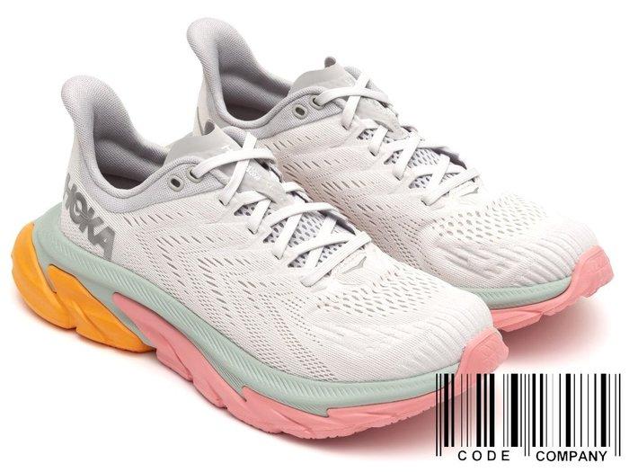 =CodE= HOKA ONE ONE CLIFTON EDGE 網布慢跑鞋(灰綠粉橘)1110511NCLR 路跑 女