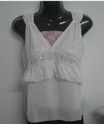 全新淡粉紅色絲紗雪紡無袖及膝裙裝