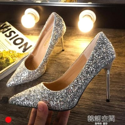 高跟鞋春季2019新款女百搭韓版細跟尖頭性感女神婚鞋水晶鞋單鞋夏