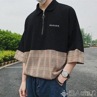 港風polo衫男短袖t恤潮流寬鬆韓版男士五分袖體恤翻領bf原宿半袖