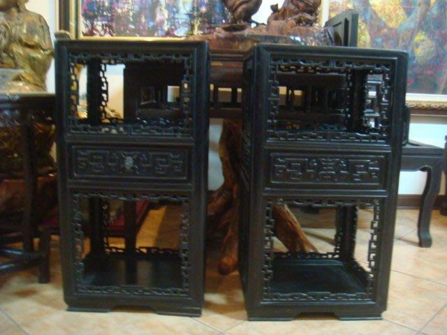 早期酸枝黑檀烏木1抽屜,實木雕花几桌櫃48x41.5x89cm(收購古董古物)