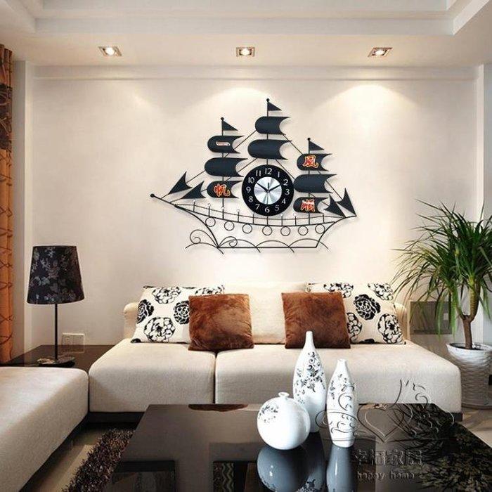 創意鐘錶掛鐘客廳現代簡約時鐘掛錶個性靜音石英鐘一帆風順xw