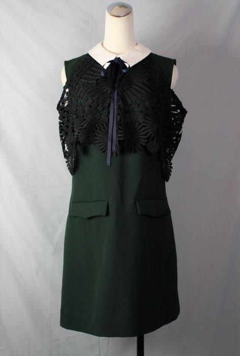 海洋工坊二手名牌旗艦店~self-portrait 綠黑蕾絲白領無袖洋裝