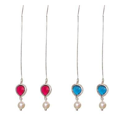 加恩韓版創意紅藍小桃心天然淡水珍珠耳線耳環 簡約外貿新品耳飾12311