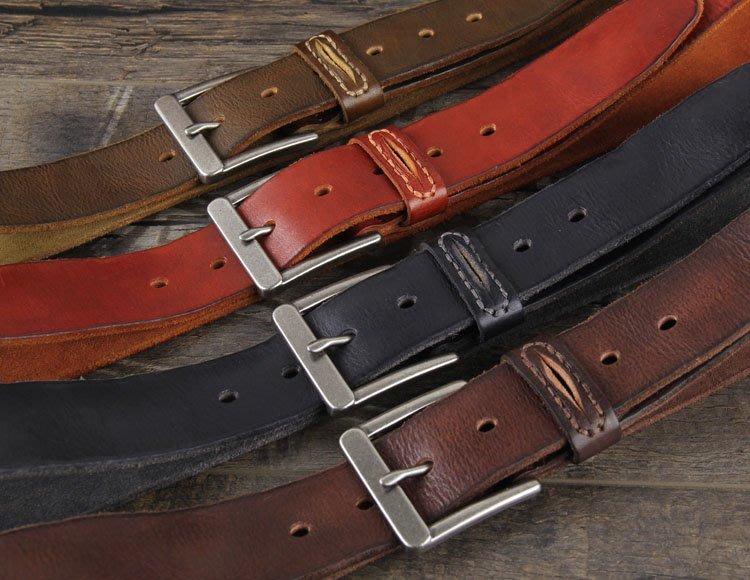 『老兵牛仔』CR-20簡約純牛皮針扣復古皮帶/頭層牛皮/復古/彈力/耐拉/個性