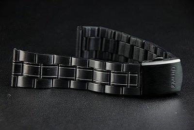 168錶帶配件~22mm不鏽鋼製錶帶黑色真空離子電鍍sea master 海馬風格