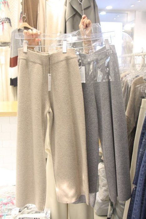 保暖針織加厚休閒直筒褲/ 寬褲/針織長褲(鬆緊腰)  『 SL0010 』
