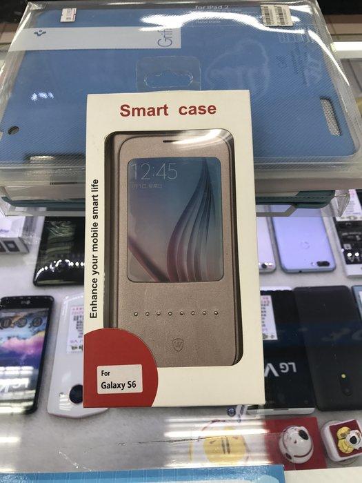中壢『手機網通』SAMSUNG GALAXY S6 s6 側翻皮套 感應皮套 皮套 金 出清價  $49元