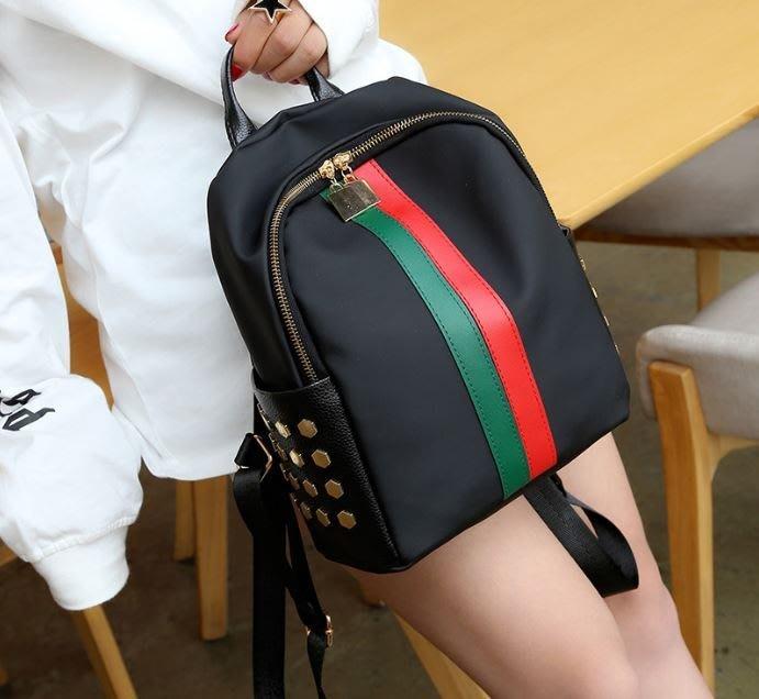 ღ~{ 現貨 }~ ღ彩條PU雙肩包 尼龍ins超火雙肩包女新款超輕百搭 背包 後背包 側背包