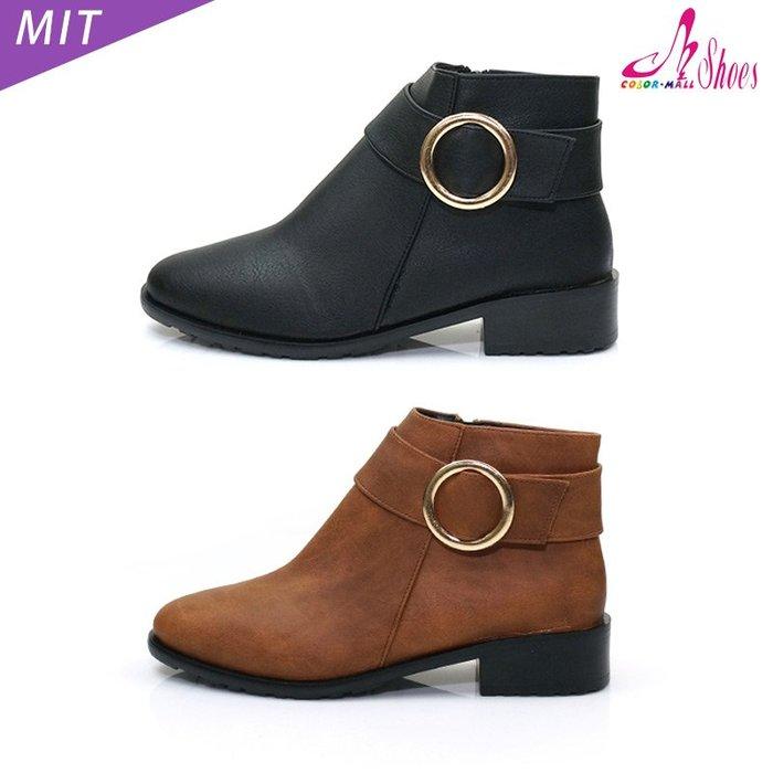 短靴【CM日韓鞋館】【28-6195】MIT小方頭側圓扣低跟短靴.黑/棕