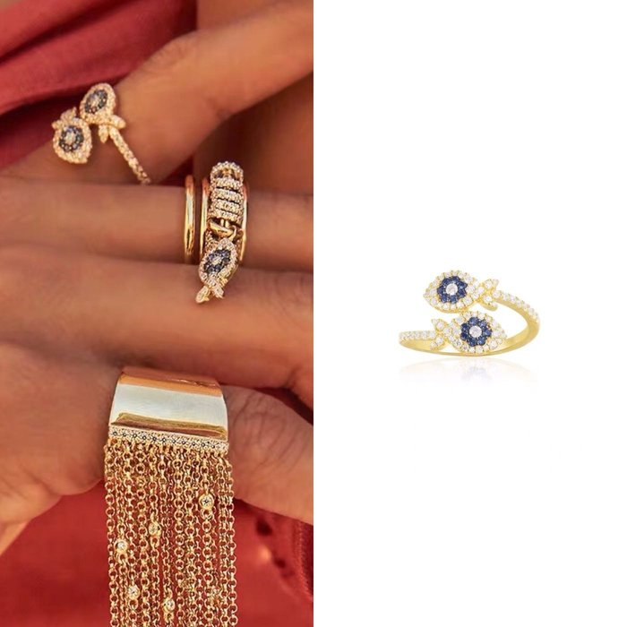 💎1882、APM法式晶鑽愛情精靈雙魚精品戒指💎  精品 耳環 輕奢飾品 正韓飾品 925純銀針
