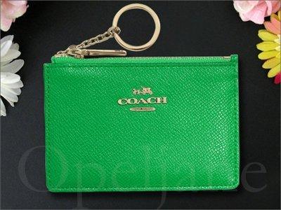 官網 Coach 52394 綠色防刮真皮鑰匙零錢包車票夾 ID證件夾信用卡名片夾悠遊卡夾非OUTLET愛Coach包包