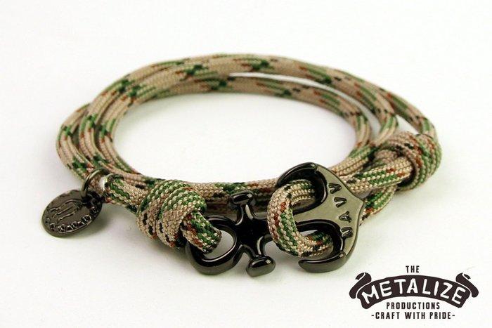 【METALIZE直營網路賣場】Anchor with rope bracel 三圈式傘繩手鍊-海錨款-綠迷彩(黑色)