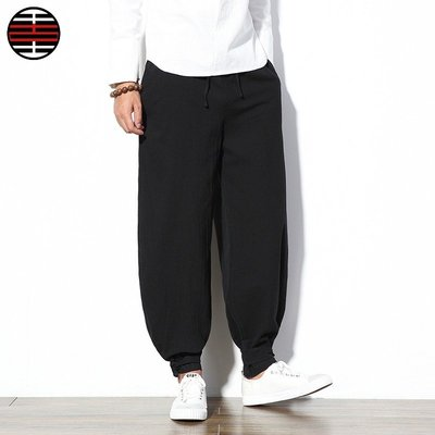 燈籠褲束腳褲中國風民族風加大碼休閒褲棉麻九分褲男褲子大碼純色