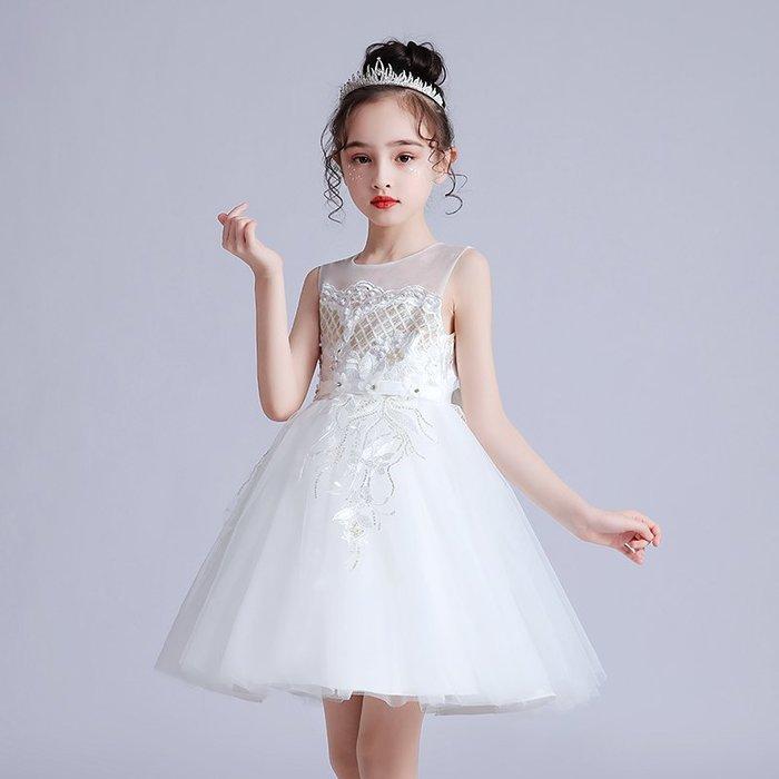 •*~ 辣媽咪衣飾小舖 ~*•❤童裝系列❤K980466韓版大童夏款甜美清新時尚蓬蓬蕾絲亮片可愛公主禮服公主洋裝