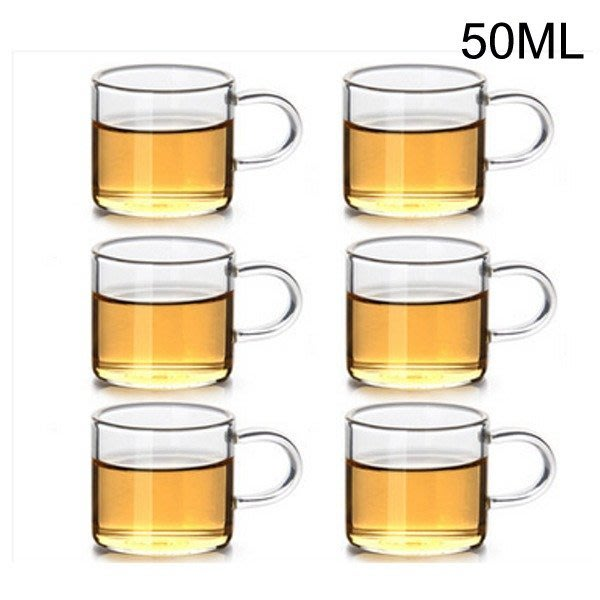 5Cgo【茗道】含稅525282557302 加厚花茶杯玻璃茶杯品茗杯功夫小茶杯耐热带把透明玻璃杯子把手100ML六個杯