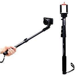 C188相機手機兩用四段扳壓式自拍棒+彈簧手機夾 機身附自拍鏡