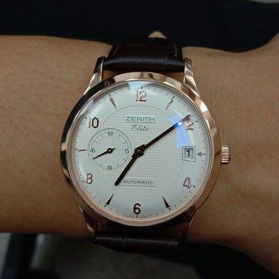 降價了 流當手錶拍賣 新款 ZENITH 先力 Elite 後簍空 18K玫瑰金 自動 男女錶 9成9新 喜歡價可議 ZR471