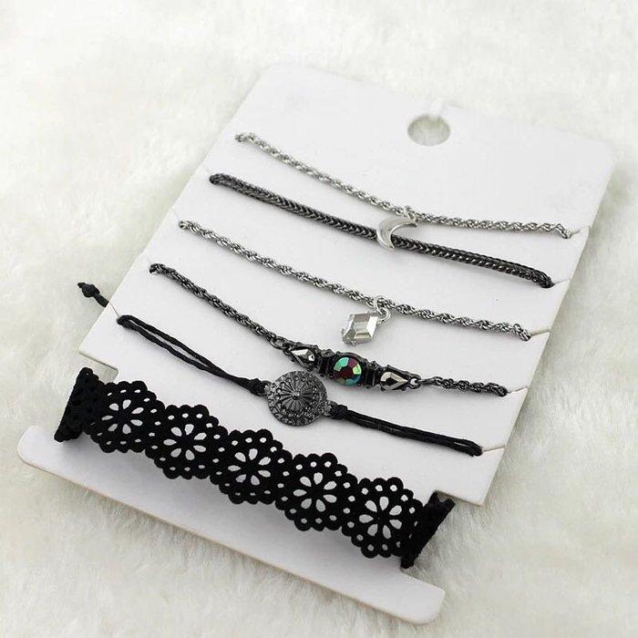 外銷歐美飾品💃日韓流行時尚手鍊手環飾品黑色皮繩鏤空手鍊手鏈滿鑽布繩手環韓國百搭潮流配飾1卡6件