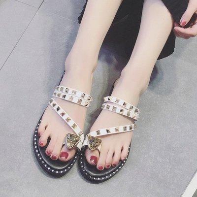 夏季新款韓版chic涼拖鞋女時尚水鑽平底外穿套趾拖鞋兩穿女鞋
