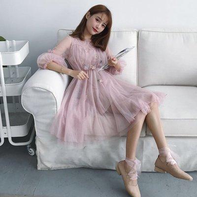 很仙的連衣裙長裙溫柔仙女裙收腰學生甜美氣質淑女日系小清新