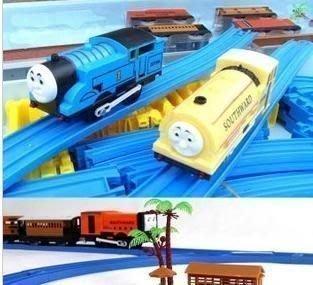 雙車頭電動軌道高架橋77件套托馬斯軌道火車超大型豪華玩具大套裝火車模型