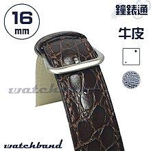 【鐘錶通】C1-20BR《簡約系列》鱷魚小花紋-16mm 經典棕   /手錶錶帶/鱷魚小花紋/牛皮錶帶/