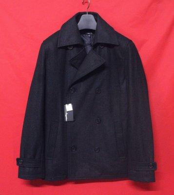 【嚴選名品】日本名牌SUGGESTION  頂級雙排扣紳士鋪綿窄版混羊毛短大衣