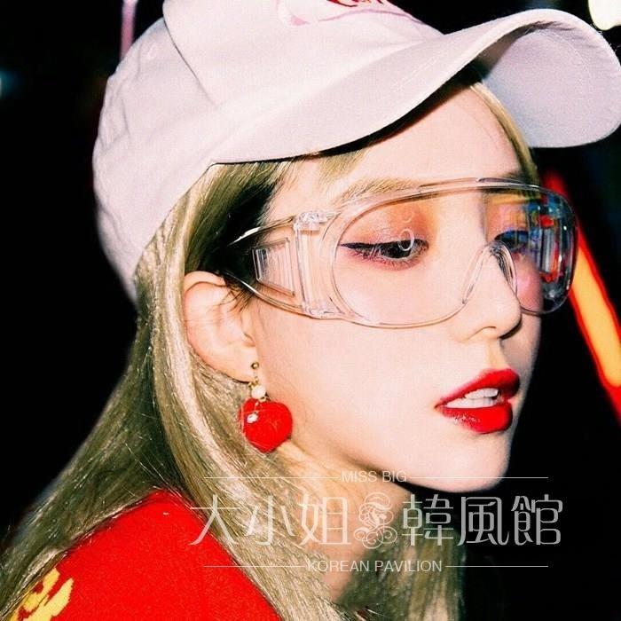 超酷透明大框網紅抖音同款眼鏡個性男女凹造型百搭防風護目鏡墨鏡-大小姐風韓館