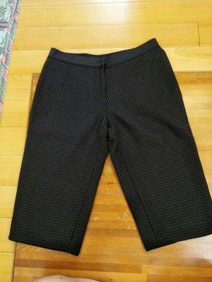 夏姿黑色格紋56分褲