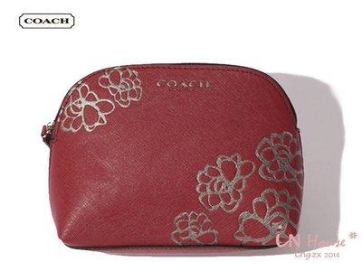 IN House~ C~ACH 滿額 過季附品 酒紅十字紋壓花 貝殼包 化妝包 收納包 手機包     金 銀