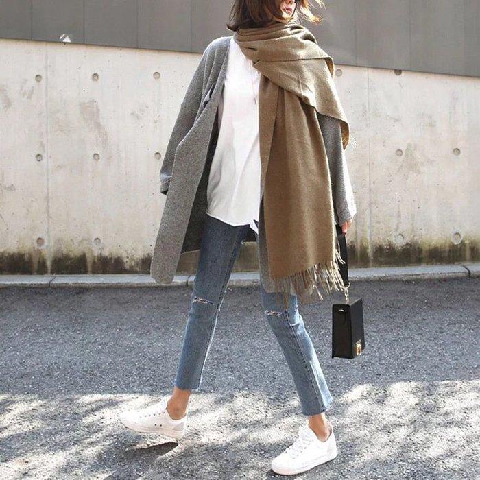 牛仔褲 (YCH6069) 韓爆款彈力好穿直筒破洞高腰九分褲 牛仔褲 可搭配襯衫/T恤/毛衣/針織衫