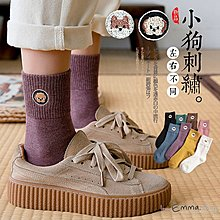 EmmaShop艾購物-日韓可愛小狗左右不同中筒襪-板鞋帆布鞋的百搭單品
