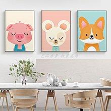 ins北歐風格抽象卡通動物可愛兔子裝飾畫芯畫布微噴三聯新款畫心(不含框)