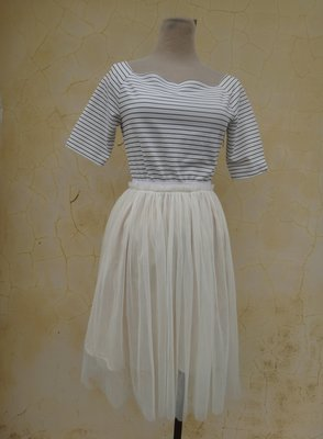jacob00765100 ~ 正品 日本品牌 BE RADIANCE 米色異材質 雪紡紗裙洋裝 size: F