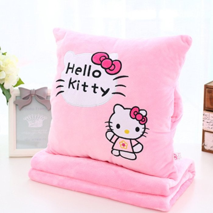 KITTY卡通靠墊珊瑚絨暖手抱枕冷氣房被子兩用三合壹空調午睡毯汽車辦公室靠枕