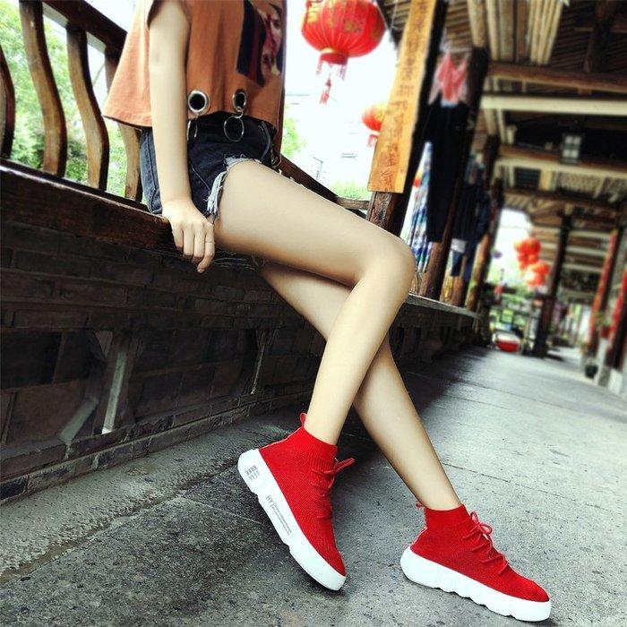 FINDSENSE品牌 四季款 新款 日本 女 高品質 簡約 厚底增高 百搭 舒適 透氣 繫帶 高幫 休閒鞋  潮流鞋子