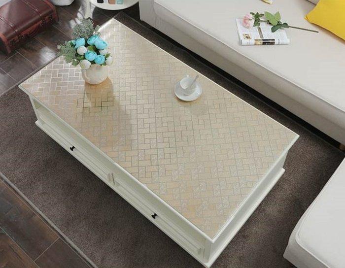 小妮子的家@PVC水晶茶几.防水.防油.耐高溫軟玻璃桌墊/香檳格子磚/~沐