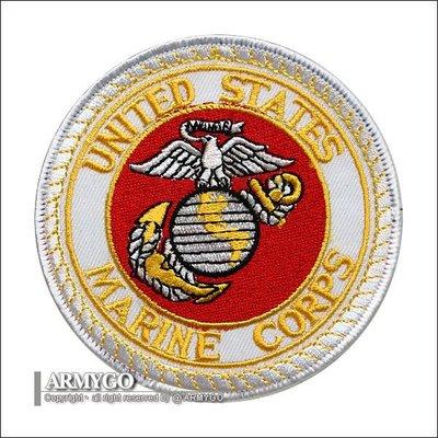 【ARMYGO】美軍海軍陸戰隊 部隊章 (白底白邊)