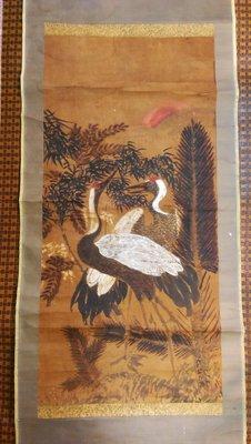 【藏家釋出】 早期收藏 ◎ 日本早期書畫 ◎ J-201-雙鶴《因年代久遠所以破損蟲蛀...等》