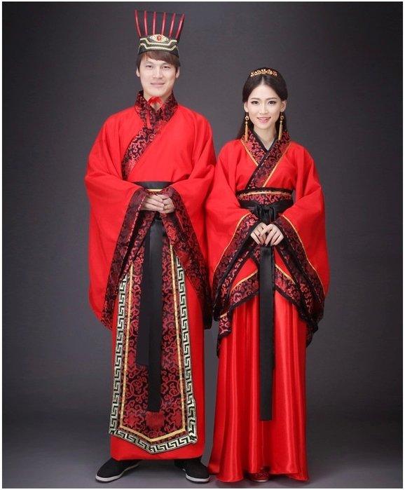 新款古裝中式漢式婚禮服紅色新娘新郎結婚服喜服漢服唐朝漢朝男女唐裝 漢服 戲服