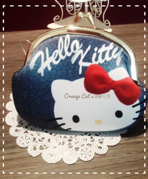 ☆橘子貓的918号店☆現貨 日本 三麗鷗 HELLO KITTY 雙珠扣式 零錢包 牛仔色錢包