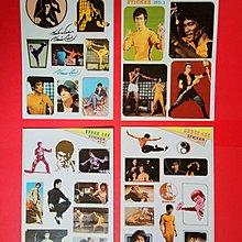 小流氓龍虎門年代 Bruce L e e ~ 李小龍 珍藏貼紙(4張一組),收藏多年