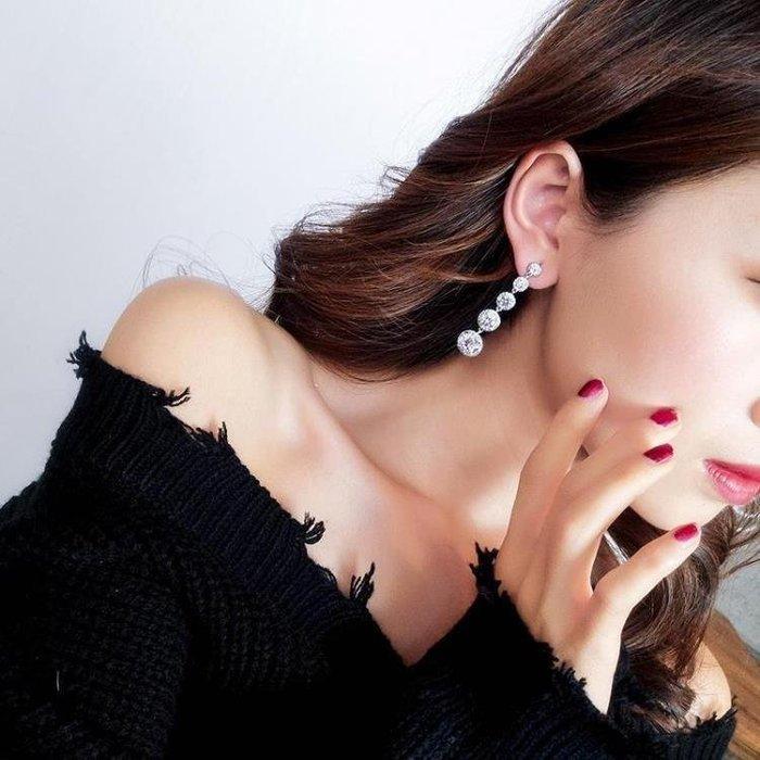 麥麥部落 925銀針超閃圓形鋯石水晶長款耳墜女正韓個性百搭氣質耳釘MB9D8