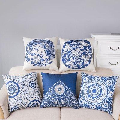 45*45CM 中國風枕頭 時尚亞麻青花瓷抱枕套 客廳 沙發 汽車 辦公室靠枕靠墊套(不含芯)DF541