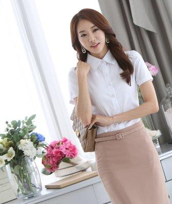 艾莉小舖~韓國夏季新款 職業女裝 女式襯衫 短袖雪紡衫 白襯衫~滿2千免運