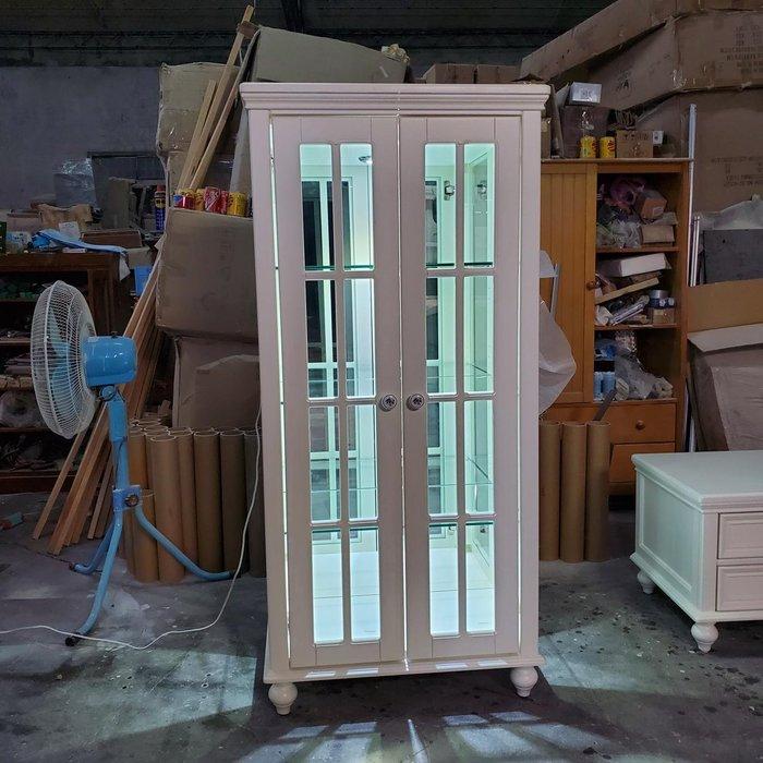 美生活館 鄉村風格 家具訂製 客製化 全紐松 玻璃展示櫃 收納櫃 酒櫃 收藏櫃 背加鏡 加燈 也可修改尺寸顏色再報價
