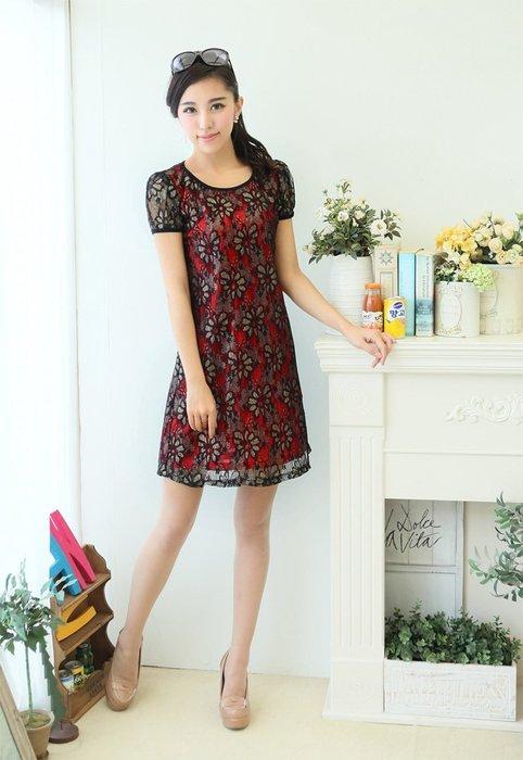 【一百元起標無底價】中大尺碼QQ3120高貴氣質蕾絲修身連衣裙洋裝.黑2L