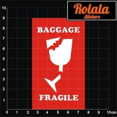 ROLALA【S017】PVC防水潮流貼紙-易碎品A《買4送1》單張行李箱貼牆貼包裏BAGGAGE FRAGILE