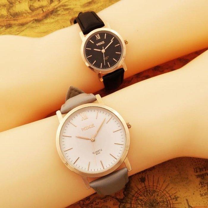 情侶對錶 復古防水手錶男女石英錶男女款簡約大錶盤皮帶情侶手錶